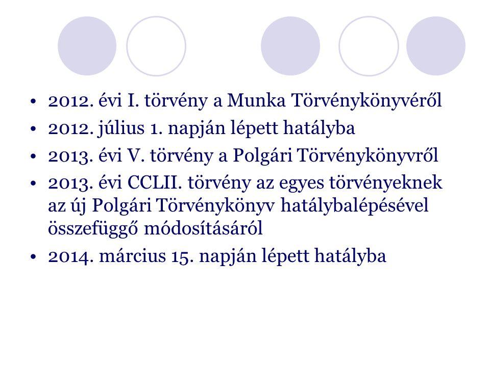 2012. évi I. törvény a Munka Törvénykönyvéről 2012.