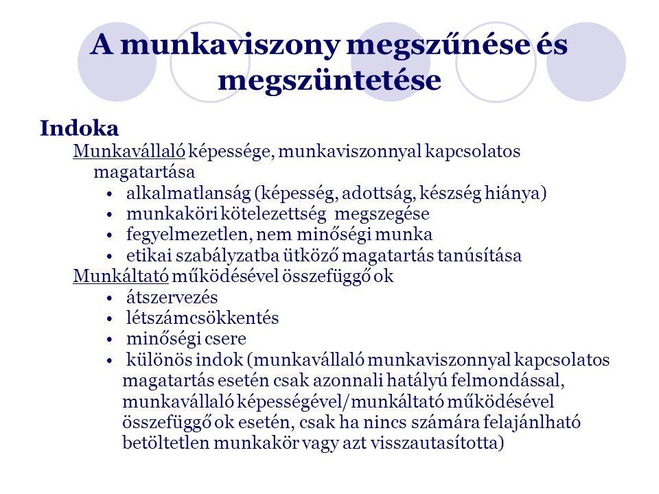 A munkaviszony megszűnése és megszüntetése Indoka Munkavállaló képessége, munkaviszonnyal kapcsolatos magatartása alkalmatlanság (képesség, adottság, készség hiánya) munkaköri kötelezettség megszegése fegyelmezetlen, nem minőségi munka etikai szabályzatba ütköző magatartás tanúsítása Munkáltató működésével összefüggő ok átszervezés létszámcsökkentés minőségi csere különös indok (munkavállaló munkaviszonnyal kapcsolatos magatartás esetén csak azonnali hatályú felmondással, munkavállaló képességével/munkáltató működésével összefüggő ok esetén, csak ha nincs számára felajánlható betöltetlen munkakör vagy azt visszautasította)