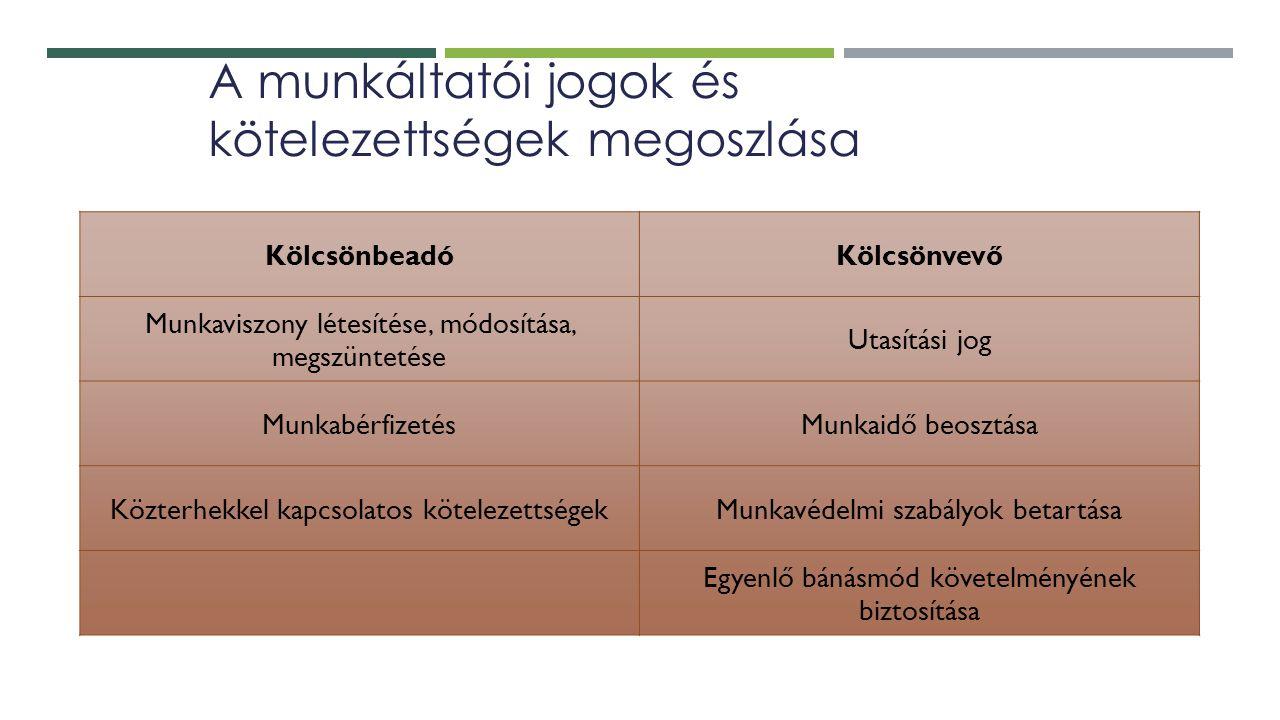 A munkáltatói jogok és kötelezettségek megoszlása KölcsönbeadóKölcsönvevő Munkaviszony létesítése, módosítása, megszüntetése Utasítási jog MunkabérfizetésMunkaidő beosztása Közterhekkel kapcsolatos kötelezettségekMunkavédelmi szabályok betartása Egyenlő bánásmód követelményének biztosítása