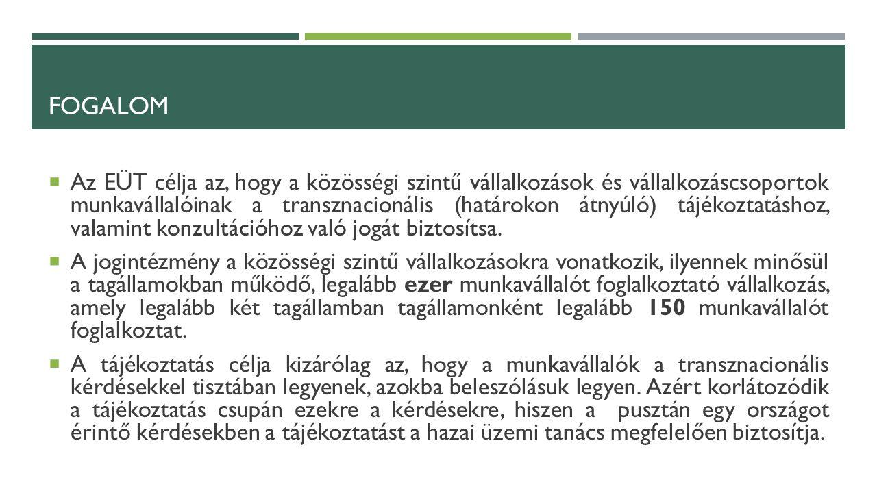 FOGALOM  Az EÜT célja az, hogy a közösségi szintű vállalkozások és vállalkozáscsoportok munkavállalóinak a transznacionális (határokon átnyúló) tájékoztatáshoz, valamint konzultációhoz való jogát biztosítsa.