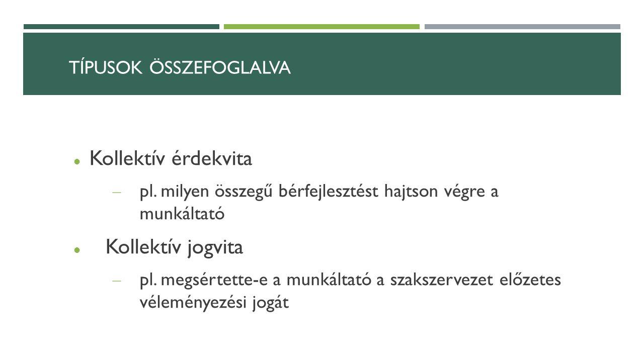 TÍPUSOK ÖSSZEFOGLALVA Kollektív érdekvita – pl.