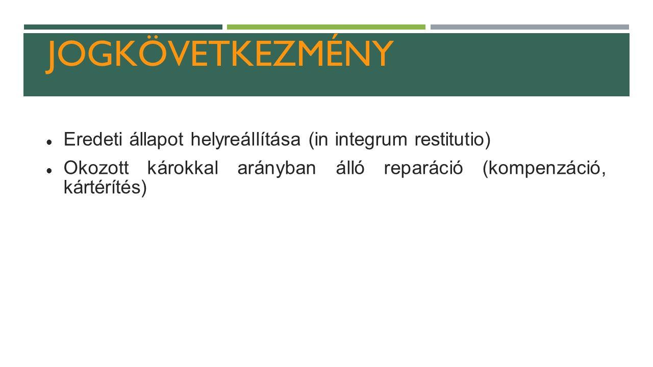 JOGKÖVETKEZMÉNY Eredeti állapot helyreállítása (in integrum restitutio) Okozott károkkal arányban álló reparáció (kompenzáció, kártérítés)