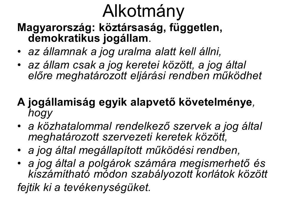 Alkotmány Magyarország: köztársaság, független, demokratikus jogállam. az államnak a jog uralma alatt kell állni, az állam csak a jog keretei között,
