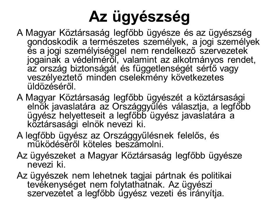 Az ügyészség A Magyar Köztársaság legfőbb ügyésze és az ügyészség gondoskodik a természetes személyek, a jogi személyek és a jogi személyiséggel nem r