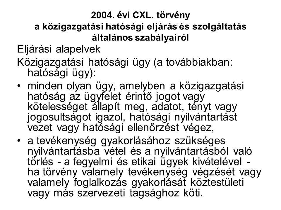 2004. évi CXL. törvény a közigazgatási hatósági eljárás és szolgáltatás általános szabályairól Eljárási alapelvek Közigazgatási hatósági ügy (a tovább