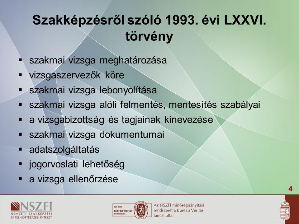 4 Szakképzésről szóló 1993. évi LXXVI.