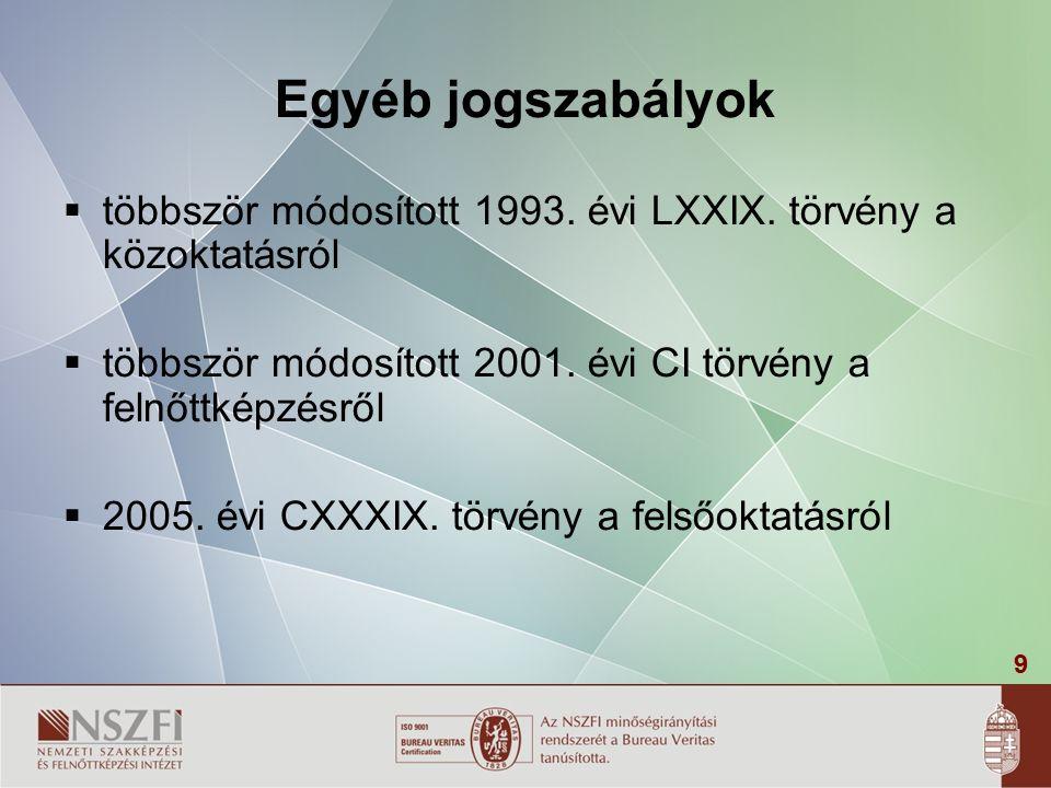 9 Egyéb jogszabályok  többször módosított 1993.évi LXXIX.