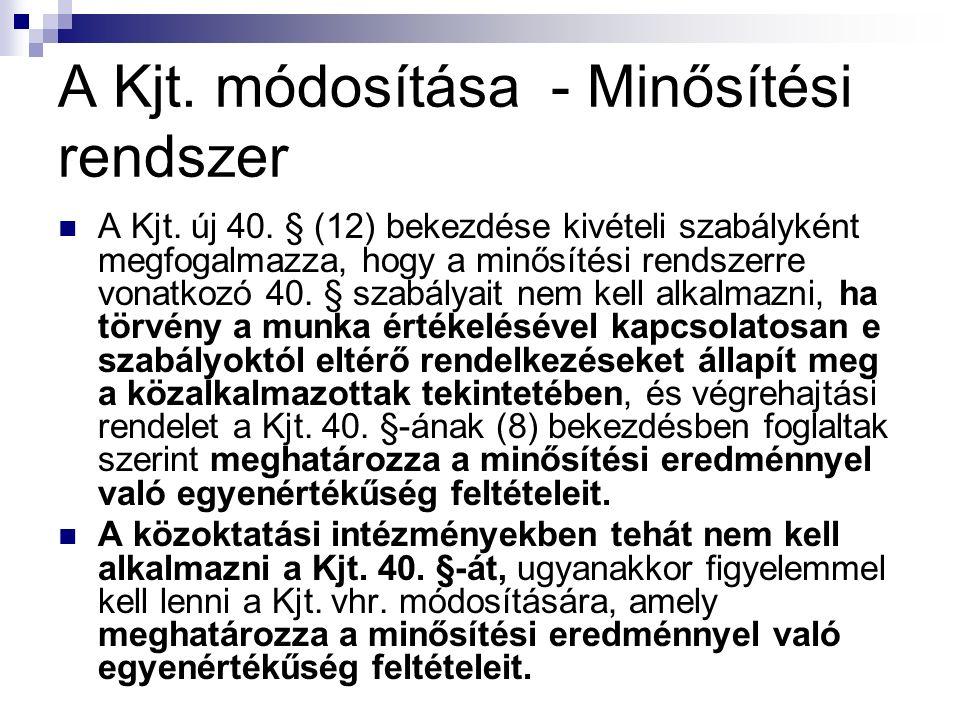 A Kjt. módosítása - Minősítési rendszer A Kjt. új 40.