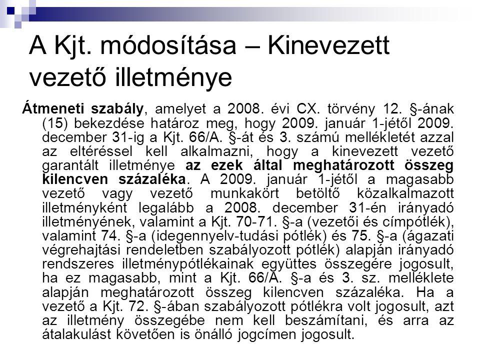 A Kjt. módosítása – Kinevezett vezető illetménye Átmeneti szabály, amelyet a 2008.
