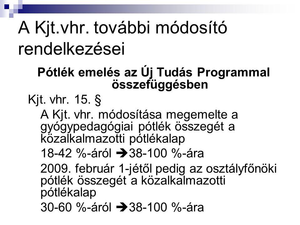 A Kjt.vhr. további módosító rendelkezései Pótlék emelés az Új Tudás Programmal összefüggésben Kjt.