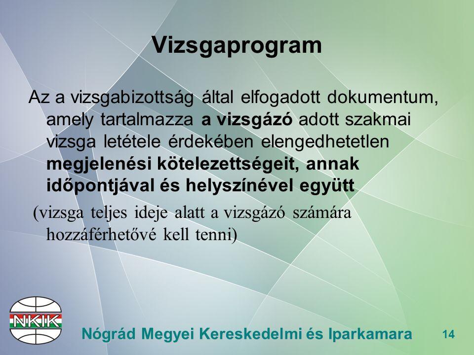 14 Nógrád Megyei Kereskedelmi és Iparkamara Vizsgaprogram Az a vizsgabizottság által elfogadott dokumentum, amely tartalmazza a vizsgázó adott szakmai vizsga letétele érdekében elengedhetetlen megjelenési kötelezettségeit, annak időpontjával és helyszínével együtt (vizsga teljes ideje alatt a vizsgázó számára hozzáférhetővé kell tenni)