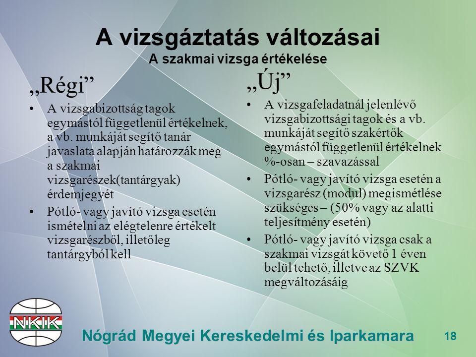 """18 Nógrád Megyei Kereskedelmi és Iparkamara A vizsgáztatás változásai A szakmai vizsga értékelése """"Régi A vizsgabizottság tagok egymástól függetlenül értékelnek, a vb."""