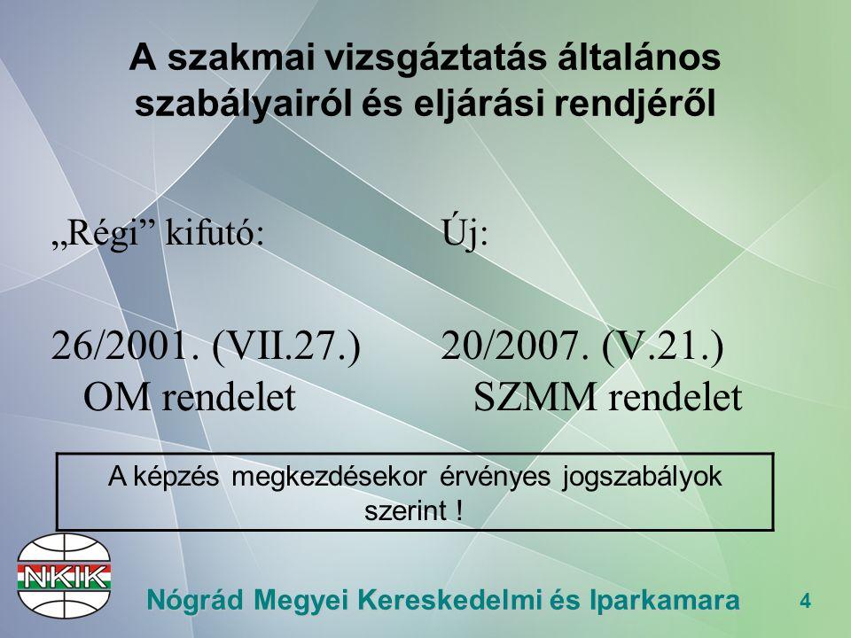 """4 Nógrád Megyei Kereskedelmi és Iparkamara A szakmai vizsgáztatás általános szabályairól és eljárási rendjéről """"Régi kifutó: 26/2001."""