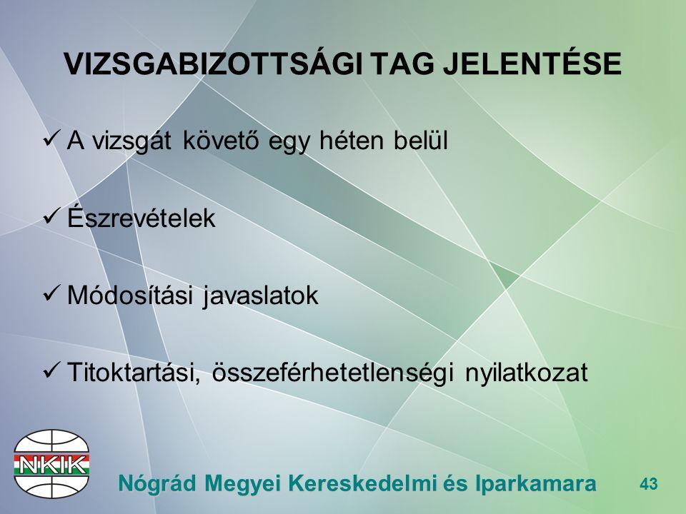 43 Nógrád Megyei Kereskedelmi és Iparkamara VIZSGABIZOTTSÁGI TAG JELENTÉSE A vizsgát követő egy héten belül Észrevételek Módosítási javaslatok Titoktartási, összeférhetetlenségi nyilatkozat