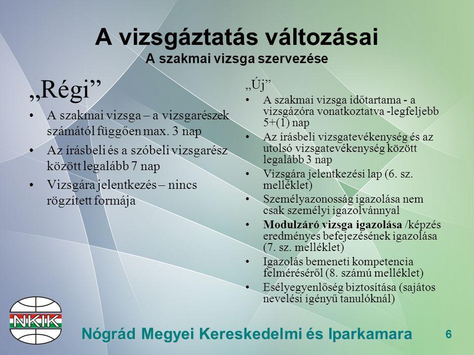 """6 Nógrád Megyei Kereskedelmi és Iparkamara A vizsgáztatás változásai A szakmai vizsga szervezése """"Régi A szakmai vizsga – a vizsgarészek számától függően max."""