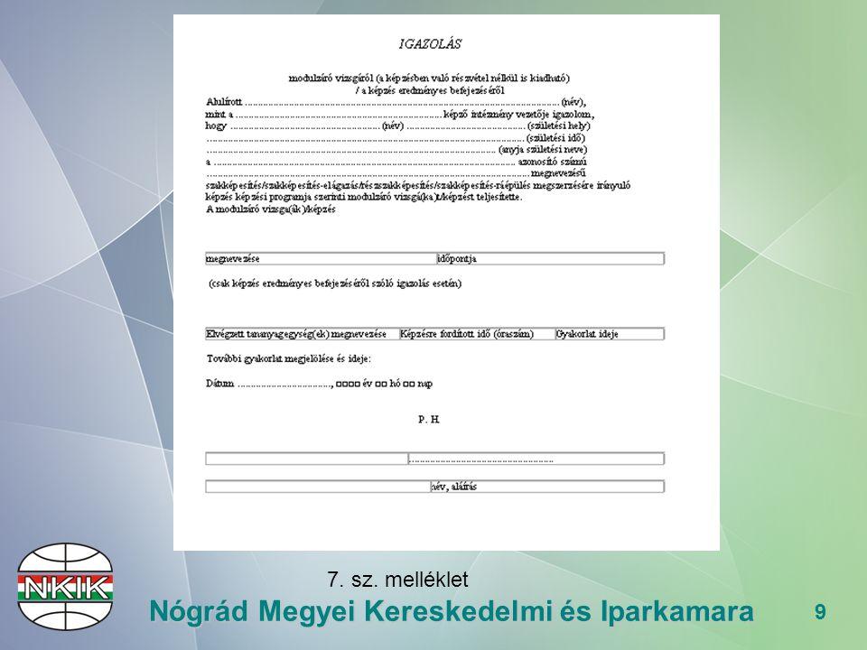 40 Nógrád Megyei Kereskedelmi és Iparkamara BIZONYÍTVÁNY Változik: Formája (diploma méretű) Tartalma (hosszú modulnevek)