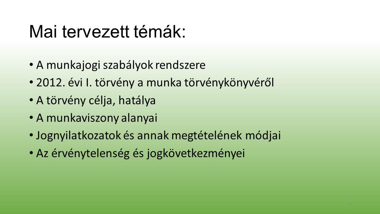 Mai tervezett témák: A munkajogi szabályok rendszere 2012.