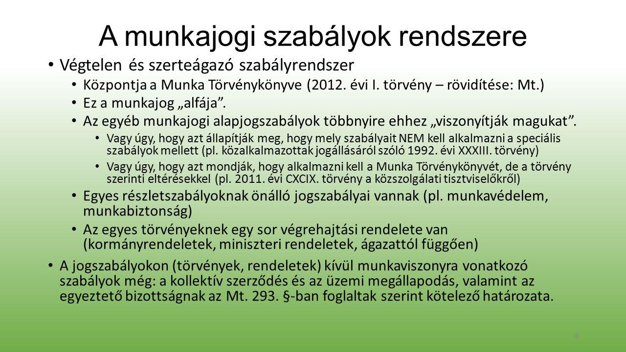 A munkajogi szabályok rendszere Végtelen és szerteágazó szabályrendszer Központja a Munka Törvénykönyve (2012.