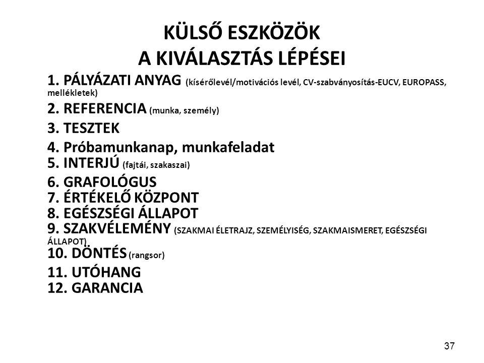 37 KÜLSŐ ESZKÖZÖK A KIVÁLASZTÁS LÉPÉSEI 1.