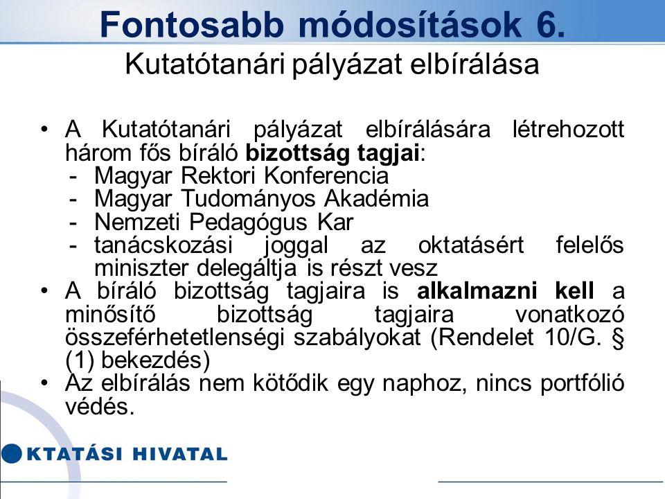 Fontosabb módosítások 6. Kutatótanári pályázat elbírálása A Kutatótanári pályázat elbírálására létrehozott három fős bíráló bizottság tagjai: -Magyar