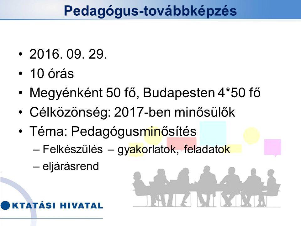 Pedagógus-továbbképzés 2016. 09. 29. 10 órás Megyénként 50 fő, Budapesten 4*50 fő Célközönség: 2017-ben minősülők Téma: Pedagógusminősítés –Felkészülé