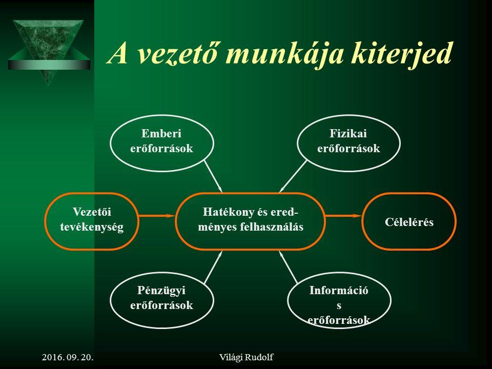 Világi Rudolf A vezetés A vezetés olyan tevékenység, amely az erőforrások hatékony és eredményes felhasználására irányul – meghatározott cél(ok) elérése érdekében 2016.