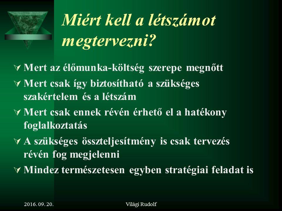 Világi Rudolf 7. tétel Ismertesse a létszámtervezés folyamatát! 2016. 09. 20.