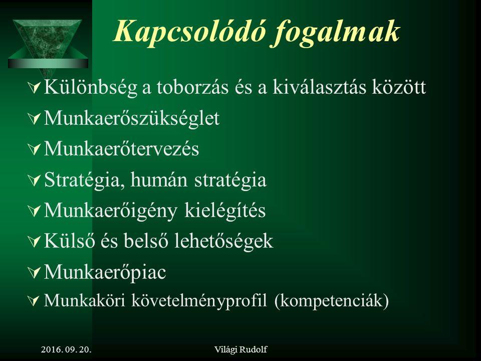 Világi Rudolf Toborzás, mint a hiányzó munkaerő pótlásának első lépése 2016. 09. 20.
