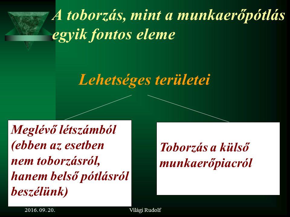 Világi Rudolf Kapcsolódó fogalmak  Különbség a toborzás és a kiválasztás között  Munkaerőszükséglet  Munkaerőtervezés  Stratégia, humán stratégia  Munkaerőigény kielégítés  Külső és belső lehetőségek  Munkaerőpiac  Munkaköri követelményprofil (kompetenciák) 2016.