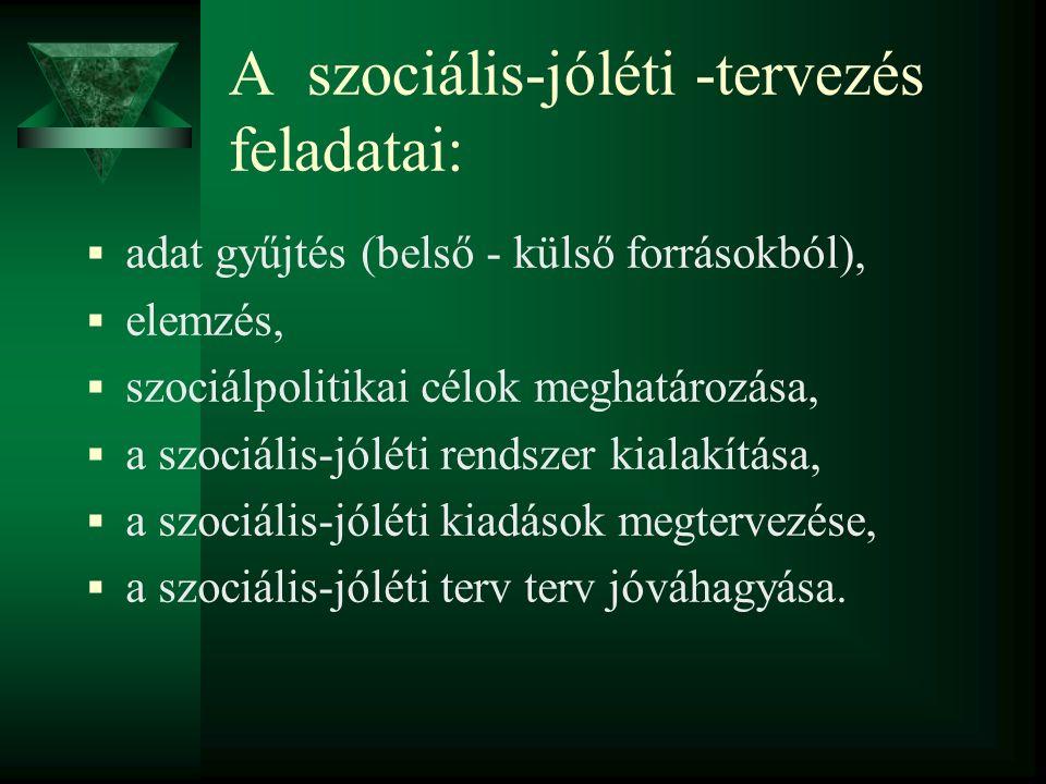 A szociális-jóléti rendszerek típusai:  A hagyományos szociális-jóléti rendszerek jellemzői és tervezése.
