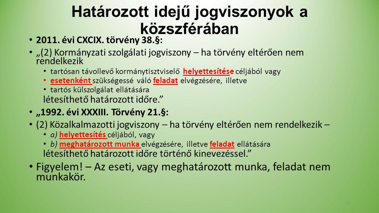 Határozott idejű jogviszonyok a közszférában 2011.