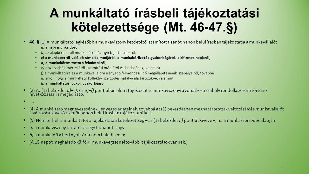 A munkáltató írásbeli tájékoztatási kötelezettsége (Mt.