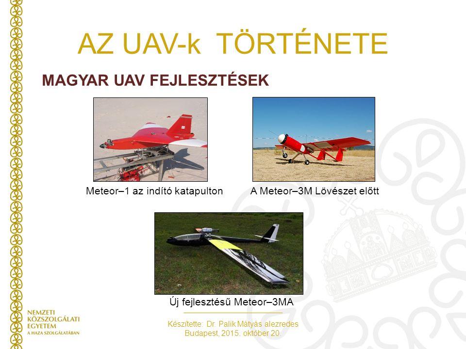 Készítette: Dr. Palik Mátyás alezredes Budapest, 2015. október 20. AZ UAV-k TÖRTÉNETE MAGYAR UAV FEJLESZTÉSEK Új fejlesztésű Meteor–3MA Meteor–1 az in