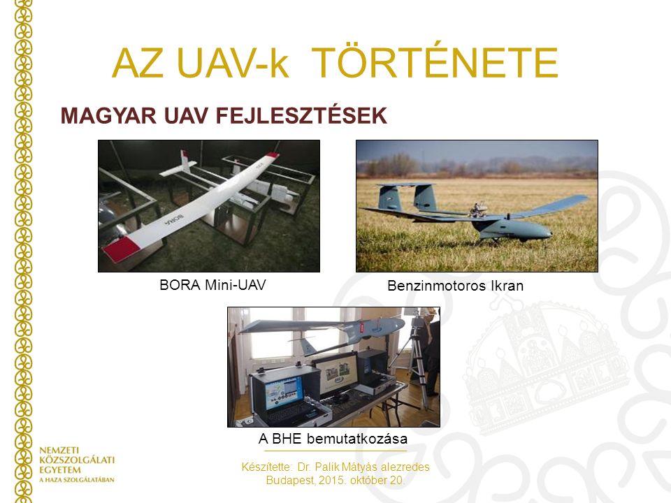 Készítette: Dr. Palik Mátyás alezredes Budapest, 2015. október 20. AZ UAV-k TÖRTÉNETE MAGYAR UAV FEJLESZTÉSEK A BHE bemutatkozása BORA Mini-UAV Benzin