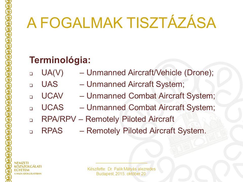Készítette: Dr. Palik Mátyás alezredes Budapest, 2015. október 20. A FOGALMAK TISZTÁZÁSA Terminológia:  UA(V) – Unmanned Aircraft/Vehicle (Drone); 