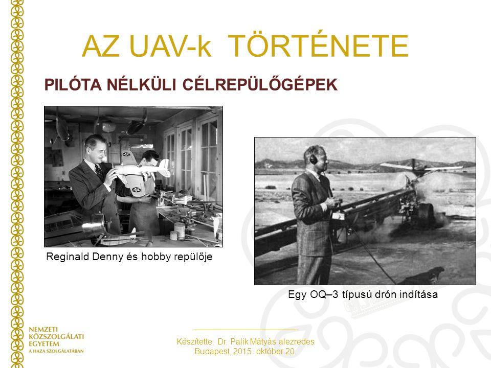 Készítette: Dr. Palik Mátyás alezredes Budapest, 2015. október 20. AZ UAV-k TÖRTÉNETE PILÓTA NÉLKÜLI CÉLREPÜLŐGÉPEK Reginald Denny és hobby repülője E