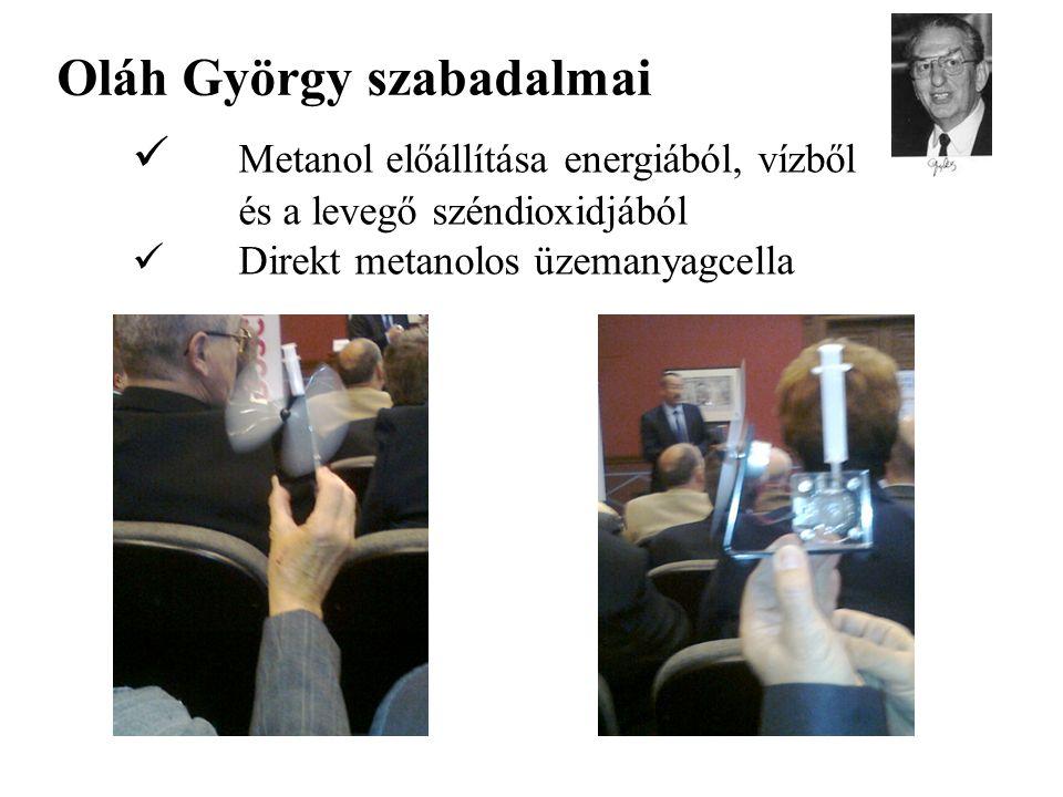 Oláh György szabadalmai Metanol előállítása energiából, vízből és a levegő széndioxidjából Direkt metanolos üzemanyagcella