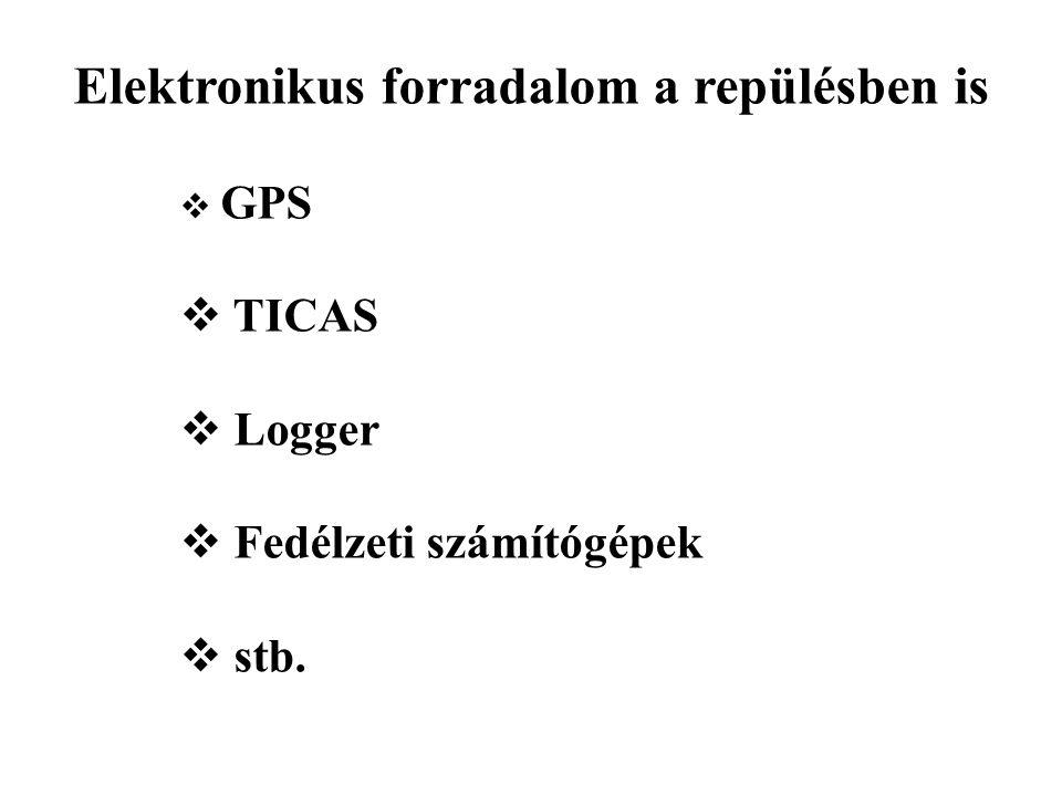 Elektronikus forradalom a repülésben is  GPS  TICAS  Logger  Fedélzeti számítógépek  stb.