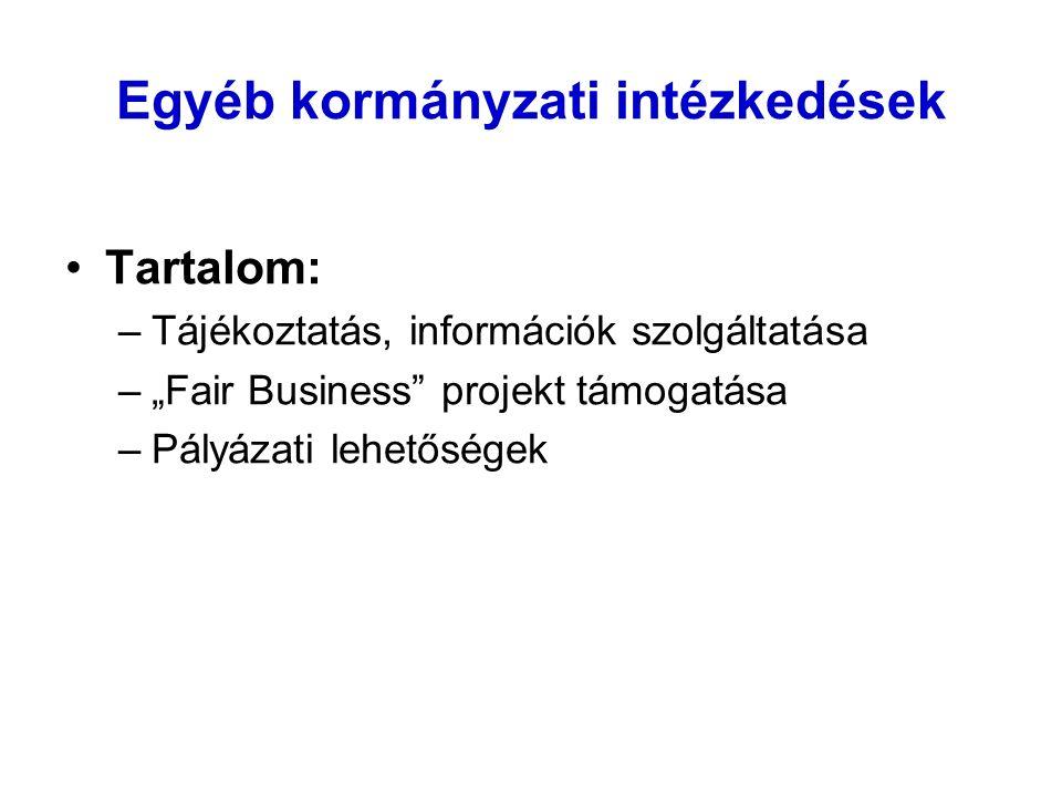 """Egyéb kormányzati intézkedések Tartalom: –Tájékoztatás, információk szolgáltatása –""""Fair Business projekt támogatása –Pályázati lehetőségek"""