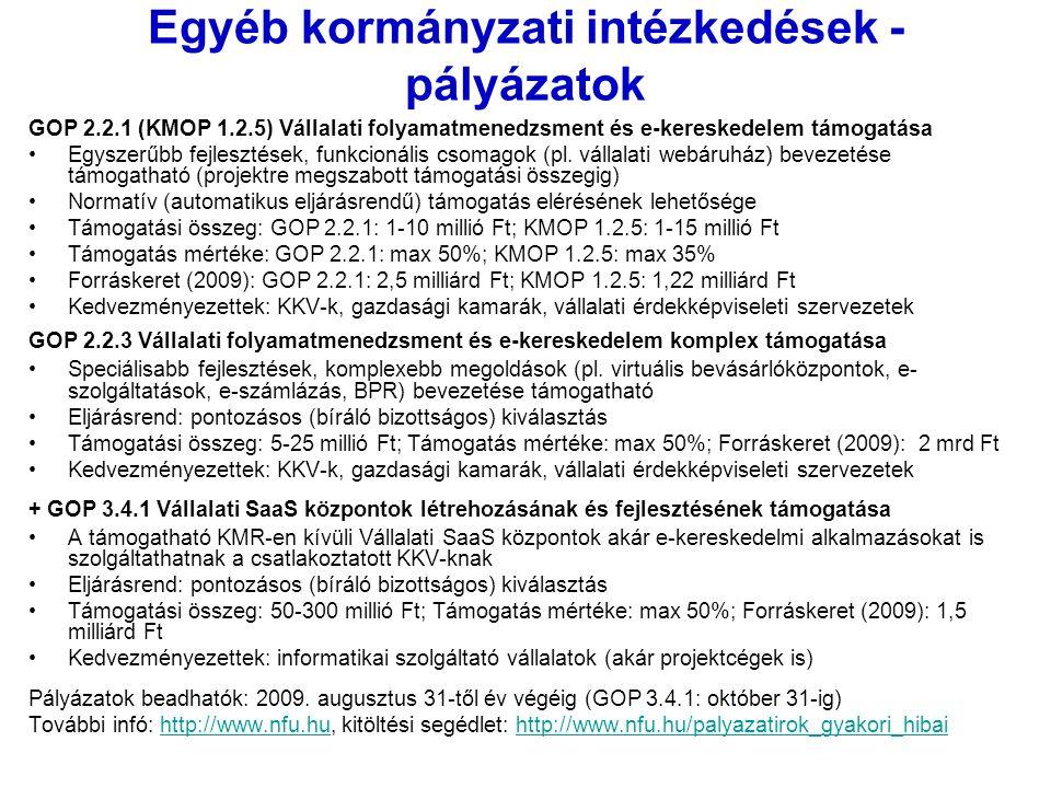 Egyéb kormányzati intézkedések - pályázatok GOP 2.2.1 (KMOP 1.2.5) Vállalati folyamatmenedzsment és e-kereskedelem támogatása Egyszerűbb fejlesztések, funkcionális csomagok (pl.