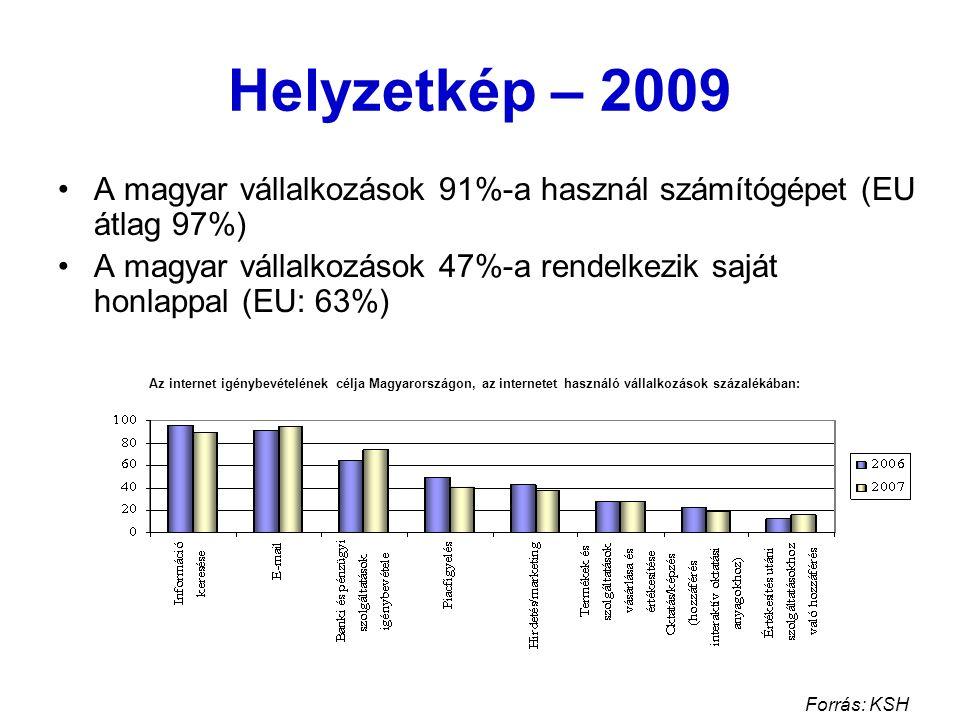 Helyzetkép – 2009 A magyar vállalkozások 91%-a használ számítógépet (EU átlag 97%) A magyar vállalkozások 47%-a rendelkezik saját honlappal (EU: 63%) Forrás: KSH Az internet igénybevételének célja Magyarországon, az internetet használó vállalkozások százalékában: