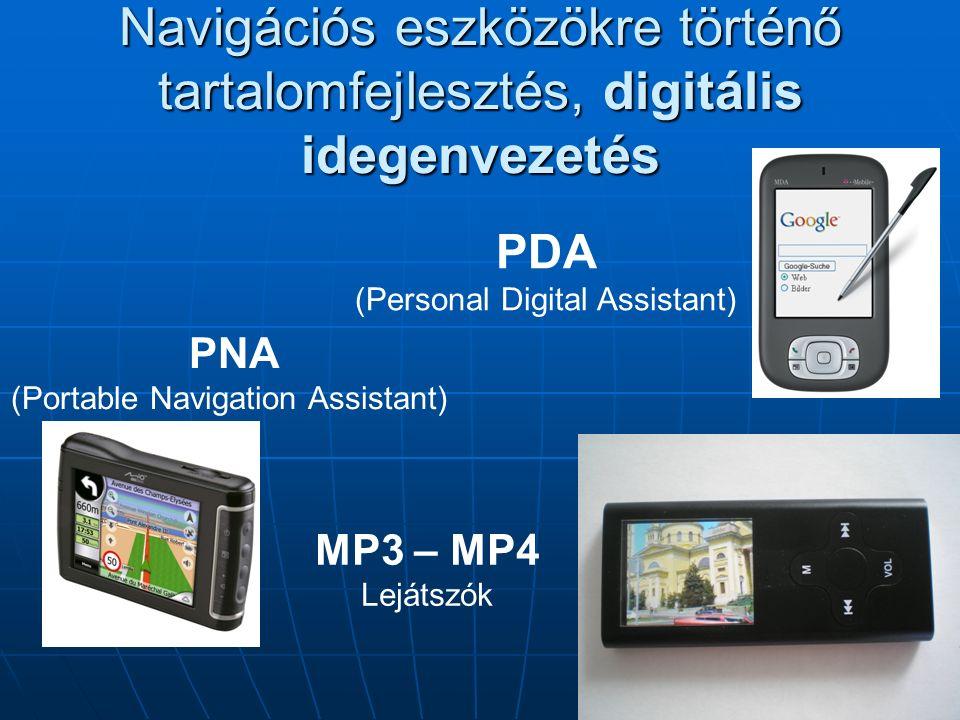 Navigációs eszközökre történő tartalomfejlesztés, digitális idegenvezetés PDA (Personal Digital Assistant) PNA (Portable Navigation Assistant) MP3 – MP4 Lejátszók