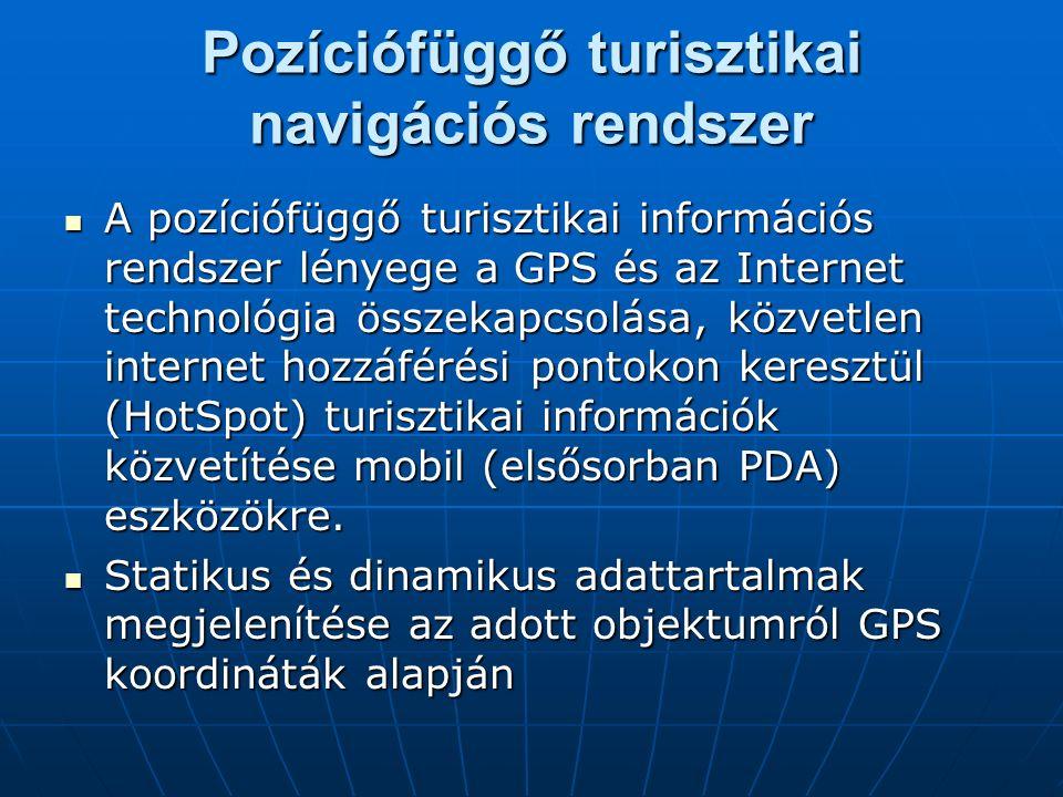 A pozíciófüggő turisztikai információs rendszer lényege a GPS és az Internet technológia összekapcsolása, közvetlen internet hozzáférési pontokon kere