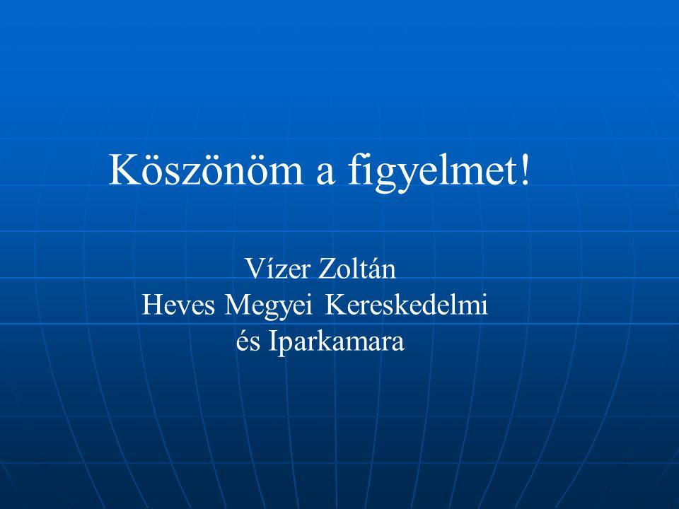 Köszönöm a figyelmet! Vízer Zoltán Heves Megyei Kereskedelmi és Iparkamara