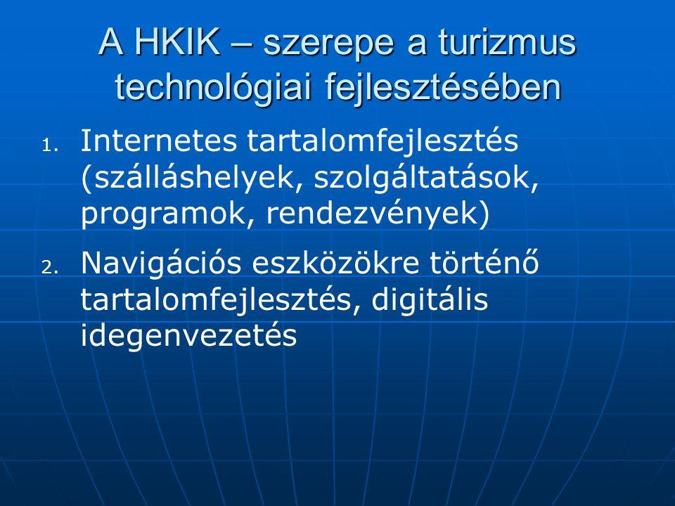 A HKIK – szerepe a turizmus technológiai fejlesztésében 1. 1. Internetes tartalomfejlesztés (szálláshelyek, szolgáltatások, programok, rendezvények) 2