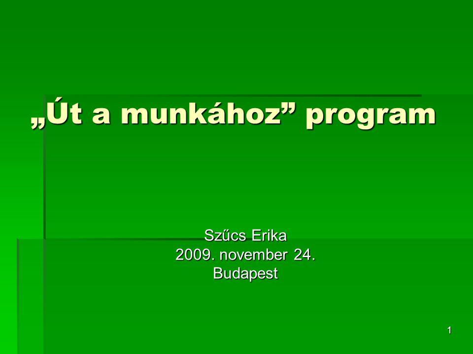 """1 """"Út a munkához program Szűcs Erika 2009. november 24. Budapest"""