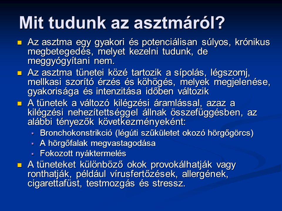 Az asztma hatásosan kezelhető Az asztma hatásosan kezelhető Jól kontrollált asztma esetén a betegeknél: Jól kontrollált asztma esetén a betegeknél: Elkerülhetőek a nappali és éjszakai zavaró tünetek Elkerülhetőek a nappali és éjszakai zavaró tünetek Nincs, vagy alig van szükség rohamoldó szerekre Nincs, vagy alig van szükség rohamoldó szerekre Produktív, fizikailag aktív életre van lehetőség Produktív, fizikailag aktív életre van lehetőség Normális, vagy normálishoz közeli légzésfunkció biztosítható Normális, vagy normálishoz közeli légzésfunkció biztosítható Elkerülhetők a súlyos asztmás rohamok (exacerbációk) Elkerülhetők a súlyos asztmás rohamok (exacerbációk) Mit tudunk az asztmáról.