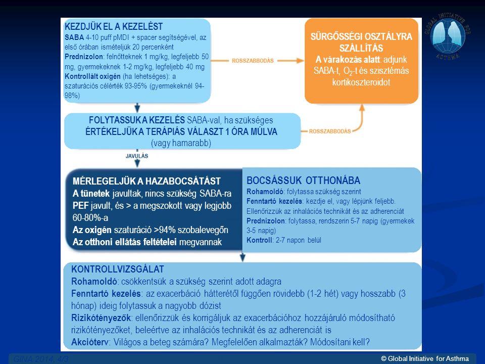 © Global Initiative for Asthma GINA 2014, 4/3 SÜRGŐSSÉGI OSZTÁLYRA SZÁLLÍTÁS A várakozás alatt : adjunk SABA-t, O 2 -t és szisztémás kortikoszteroidot KEZDJÜK EL A KEZELÉST SABA 4-10 puff pMDI + spacer segítségével, az első órában ismételjük 20 percenként Prednizolon : felnőtteknek 1 mg/kg, legfeljebb 50 mg, gyermekeknek 1-2 mg/kg, legfeljebb 40 mg Kontrollált oxigén (ha lehetséges): a szaturációs célérték 93-95% (gyermekeknél 94- 98%) BOCSÁSSUK OTTHONÁBA Rohamoldó : folytassa szükség szerint Fenntartó kezelés : kezdje el, vagy lépjünk feljebb.