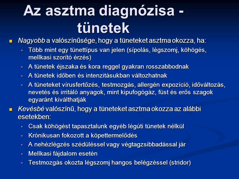 Nagyobb a valószínűsége, hogy a tüneteket asztma okozza, ha: Nagyobb a valószínűsége, hogy a tüneteket asztma okozza, ha:  Több mint egy tünettípus van jelen (sípolás, légszomj, köhögés, mellkasi szorító érzés)  A tünetek éjszaka és kora reggel gyakran rosszabbodnak  A tünetek időben és intenzitásukban változhatnak  A tüneteket vírusfertőzés, testmozgás, allergén expozíció, időváltozás, nevetés és irritáló anyagok, mint kipufogógáz, füst és erős szagok egyaránt kiválthatják Kevésbé valószínű, hogy a tüneteket asztma okozza az alábbi esetekben: Kevésbé valószínű, hogy a tüneteket asztma okozza az alábbi esetekben:  Csak köhögést tapasztalunk egyéb légúti tünetek nélkül  Krónikusan fokozott a köpettermelődés  A nehézlégzés szédüléssel vagy végtagzsibbadással jár  Mellkasi fájdalom esetén  Testmozgás okozta légszomj hangos belégzéssel (stridor) Az asztma diagnózisa - tünetek GINA 2014