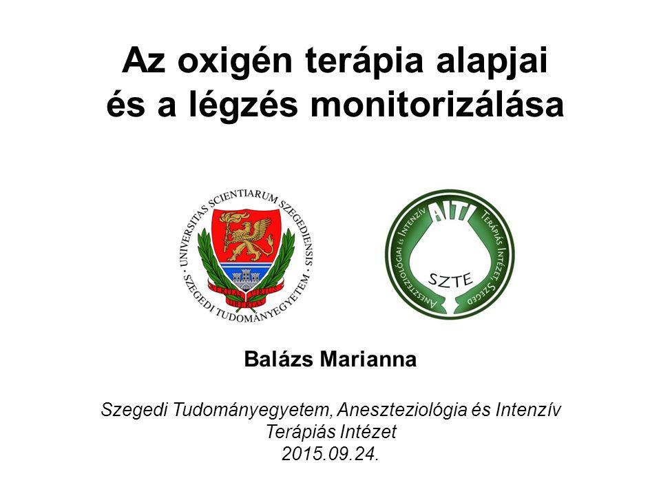 Az oxigén terápia alapjai és a légzés monitorizálása Balázs Marianna Szegedi Tudományegyetem, Aneszteziológia és Intenzív Terápiás Intézet 2015.09.24.